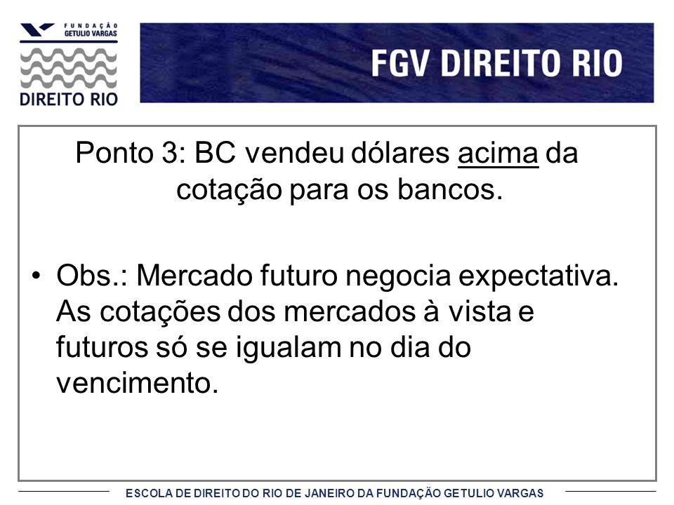 ESCOLA DE DIREITO DO RIO DE JANEIRO DA FUNDAÇÃO GETULIO VARGAS Ponto 3: BC vendeu dólares acima da cotação para os bancos. Obs.: Mercado futuro negoci
