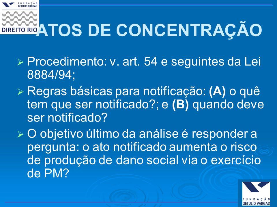 ATOS DE CONCENTRAÇÃO Procedimento: v. art. 54 e seguintes da Lei 8884/94; Regras básicas para notificação: (A) o quê tem que ser notificado?; e (B) qu