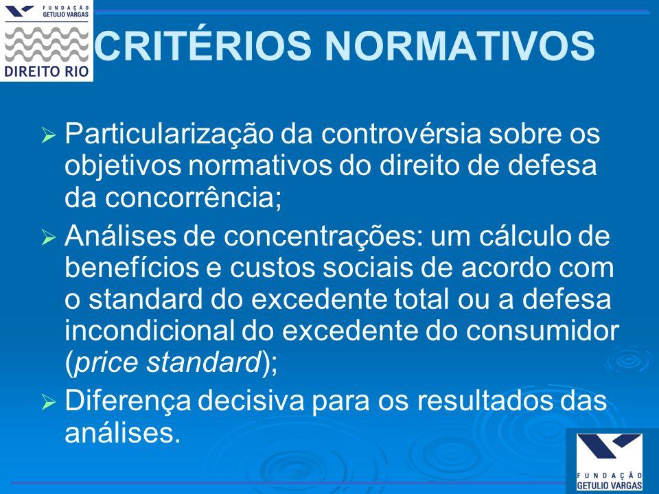 CRITÉRIOS NORMATIVOS Particularização da controvérsia sobre os objetivos normativos do direito de defesa da concorrência; Análises de concentrações: u