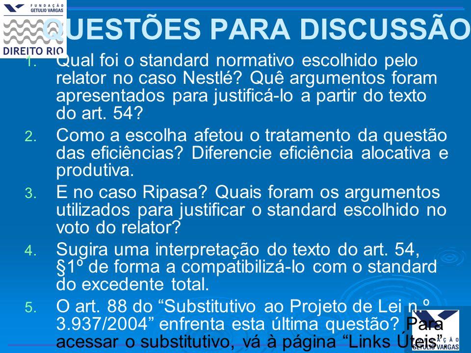 QUESTÕES PARA DISCUSSÃO 1. 1. Qual foi o standard normativo escolhido pelo relator no caso Nestlé? Quê argumentos foram apresentados para justificá-lo