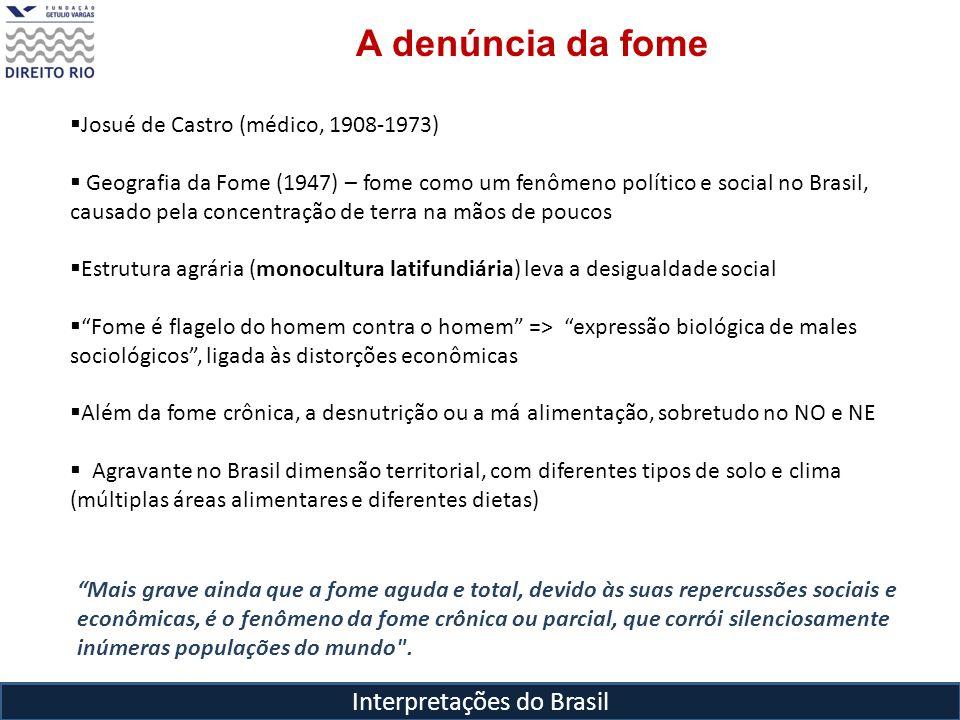 Interpretações do Brasil MAPA DAS AREAS ALIMENTARESDO BRASIL = Josué de Castro= 5 áreas alimentares, com recursos típicos Fome => quando pelo menos metade da população apresenta nítidas carências de nutrição Manifestações permanentes = Fome coletiva Manifestações transitórias
