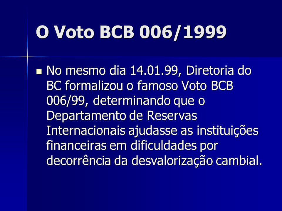 O Voto BCB 006/1999 No mesmo dia 14.01.99, Diretoria do BC formalizou o famoso Voto BCB 006/99, determinando que o Departamento de Reservas Internacionais ajudasse as instituições financeiras em dificuldades por decorrência da desvalorização cambial.