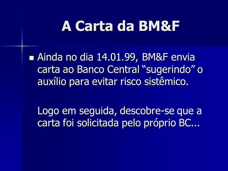 A Carta da BM&F Ainda no dia 14.01.99, BM&F envia carta ao Banco Central sugerindo o auxílio para evitar risco sistêmico.