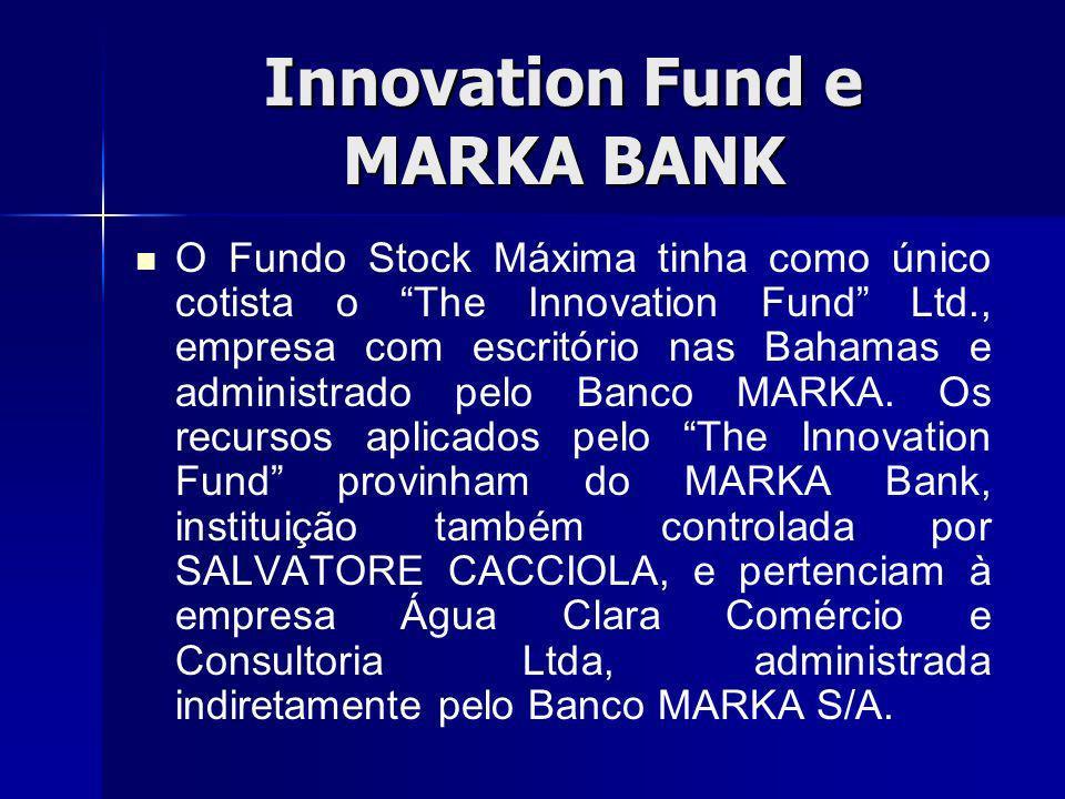 Innovation Fund e MARKA BANK O Fundo Stock Máxima tinha como único cotista o The Innovation Fund Ltd., empresa com escritório nas Bahamas e administrado pelo Banco MARKA.