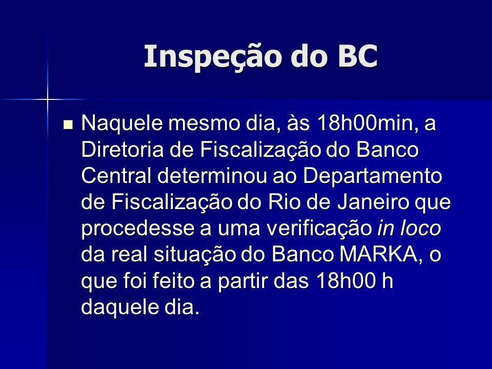 Inspeção do BC Naquele mesmo dia, às 18h00min, a Diretoria de Fiscalização do Banco Central determinou ao Departamento de Fiscalização do Rio de Janeiro que procedesse a uma verificação in loco da real situação do Banco MARKA, o que foi feito a partir das 18h00 h daquele dia.