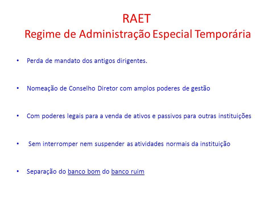 RAET Regime de Administração Especial Temporária Perda de mandato dos antigos dirigentes. Nomeação de Conselho Diretor com amplos poderes de gestão Co