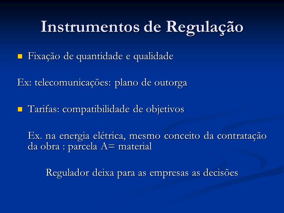 Instrumentos de Regulação Fixação de quantidade e qualidade Fixação de quantidade e qualidade Ex: telecomunicações: plano de outorga Tarifas: compatib
