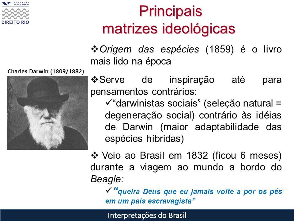 Interpretações do Brasil Principais matrizes ideológicas Principais matrizes ideológicas Charles Darwin (1809/1882) Origem das espécies (1859) é o liv
