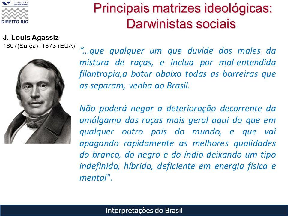 Interpretações do Brasil Principais matrizes ideológicas: Darwinistas sociais Principais matrizes ideológicas: Darwinistas sociais...que qualquer um q