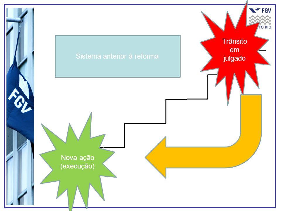 Trânsito em julgado Sistema anterior à reforma Nova ação (execução)