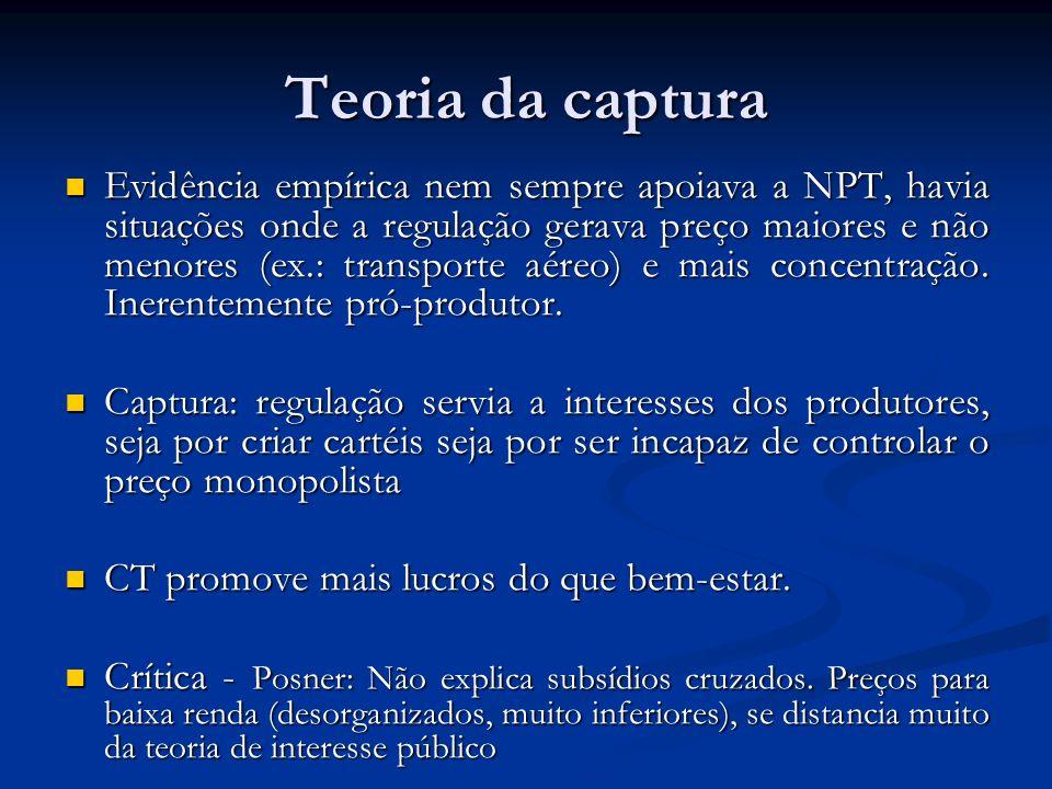 Teoria da captura Evidência empírica nem sempre apoiava a NPT, havia situações onde a regulação gerava preço maiores e não menores (ex.: transporte aé