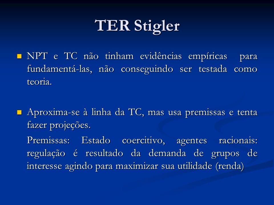 TER Stigler NPT e TC não tinham evidências empíricas para fundamentá-las, não conseguindo ser testada como teoria. NPT e TC não tinham evidências empí