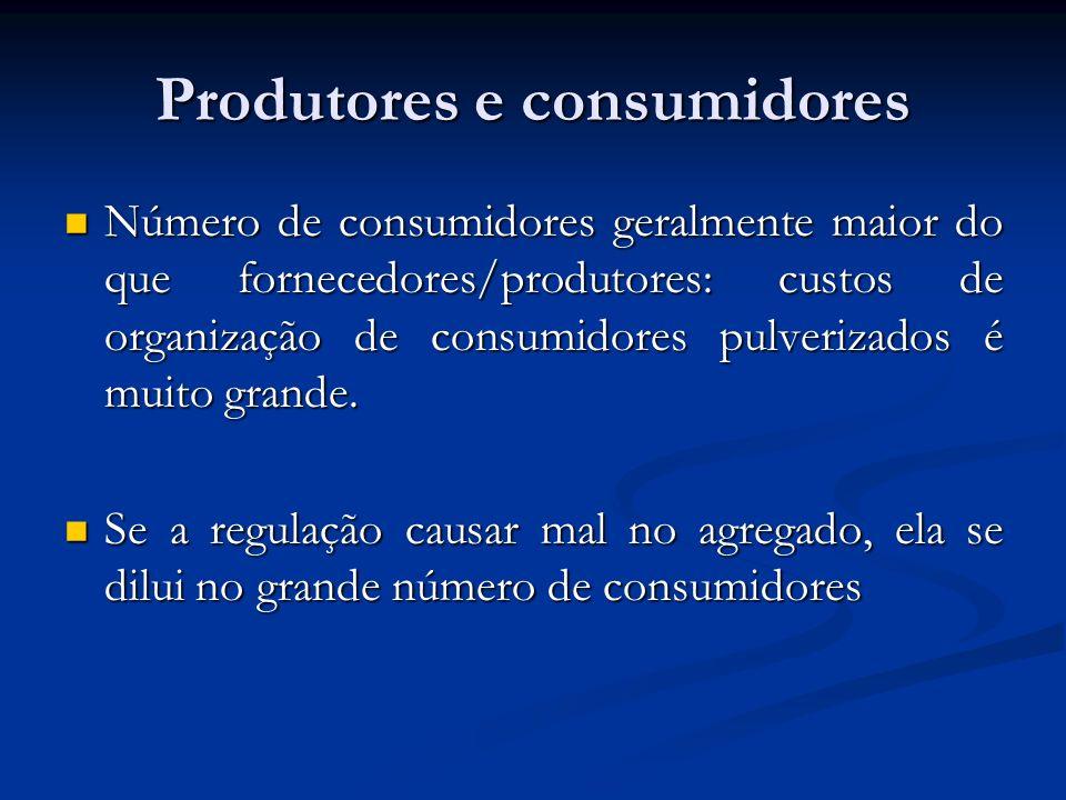 Produtores e consumidores Número de consumidores geralmente maior do que fornecedores/produtores: custos de organização de consumidores pulverizados é