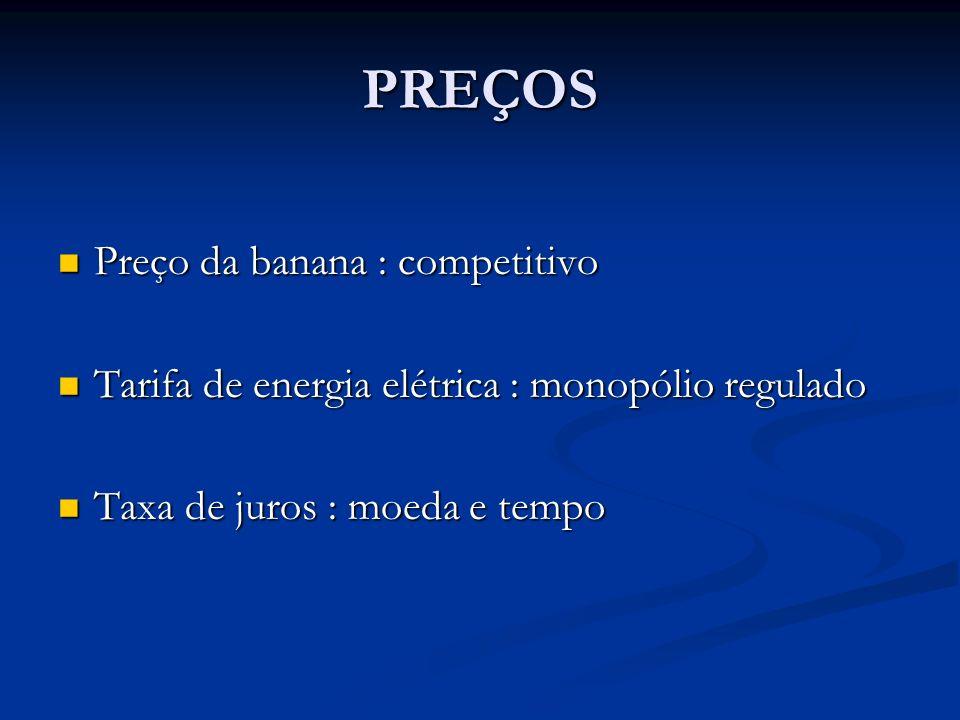 PREÇOS Preço da banana : competitivo Preço da banana : competitivo Tarifa de energia elétrica : monopólio regulado Tarifa de energia elétrica : monopó