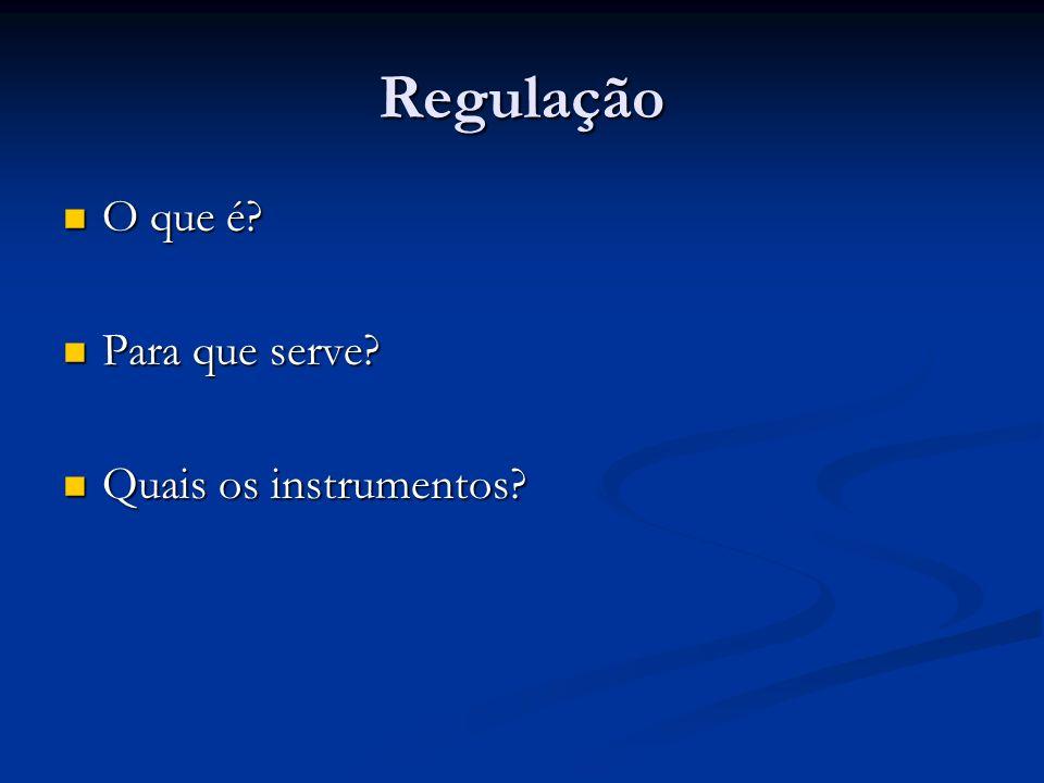 Regulação O que é? O que é? Para que serve? Para que serve? Quais os instrumentos? Quais os instrumentos?