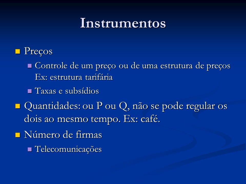 Instrumentos Preços Preços Controle de um preço ou de uma estrutura de preços Ex: estrutura tarifária Controle de um preço ou de uma estrutura de preç