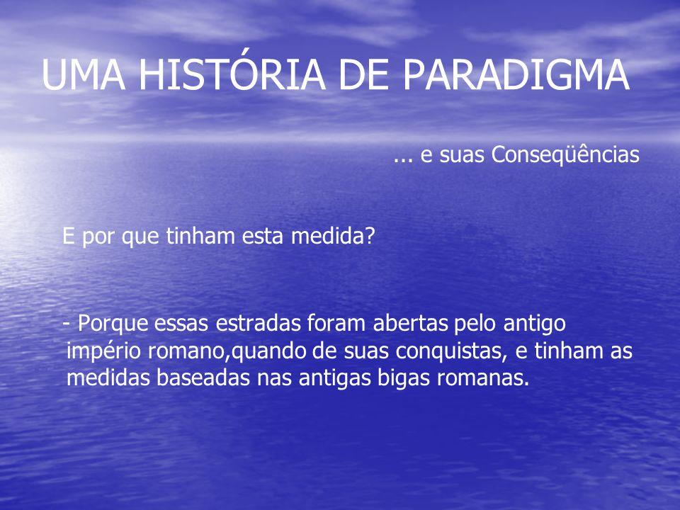 UMA HISTÓRIA DE PARADIGMA...e suas Conseqüências E por que tinham esta medida.