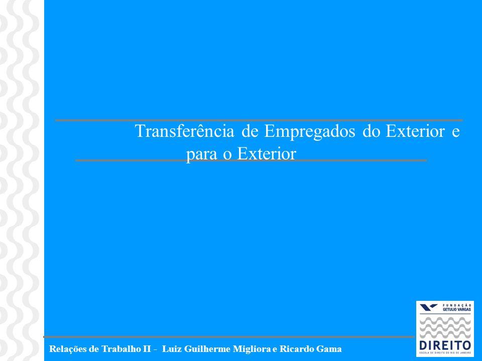 Relações de Trabalho II - Luiz Guilherme Migliora e Ricardo Gama Transferência de Empregados do Exterior e para o Exterior