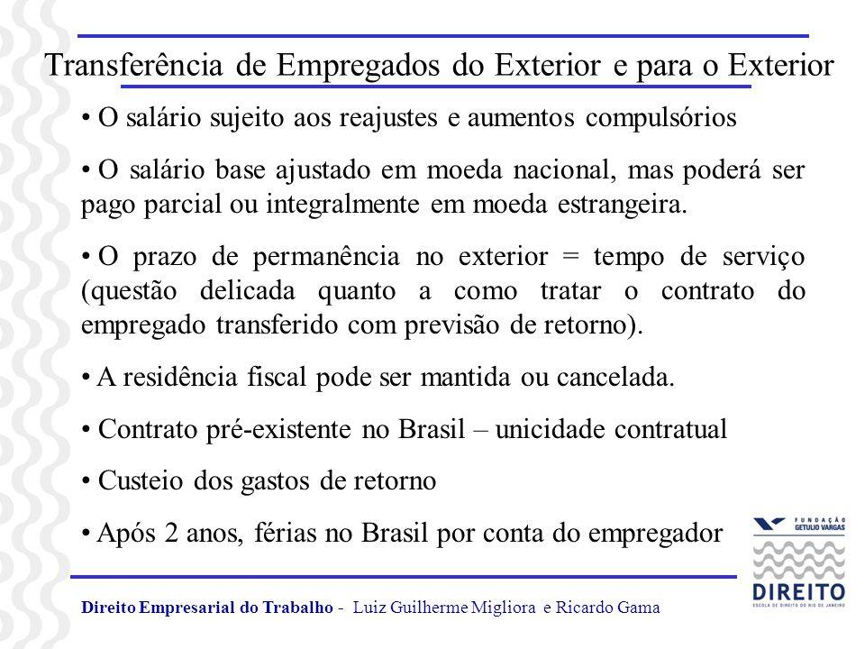 Transferência de Empregados do Exterior e para o Exterior O salário sujeito aos reajustes e aumentos compulsórios O salário base ajustado em moeda nac