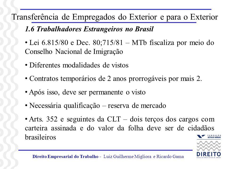 Transferência de Empregados do Exterior e para o Exterior 1.6 Trabalhadores Estrangeiros no Brasil Lei 6.815/80 e Dec. 80;715/81 – MTb fiscaliza por m