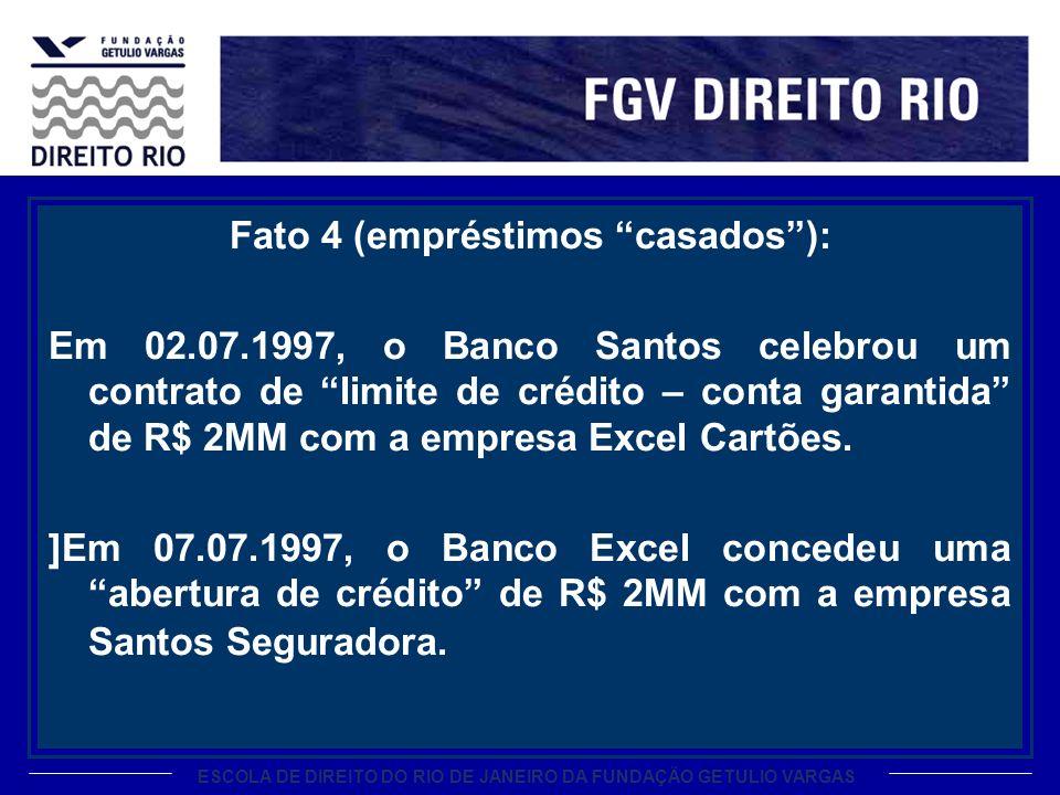 ESCOLA DE DIREITO DO RIO DE JANEIRO DA FUNDAÇÃO GETULIO VARGAS Fato 4 (empréstimos casados): Em 02.07.1997, o Banco Santos celebrou um contrato de lim