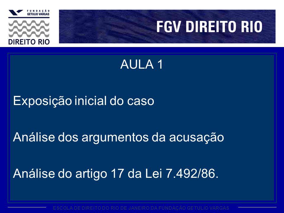 ESCOLA DE DIREITO DO RIO DE JANEIRO DA FUNDAÇÃO GETULIO VARGAS AULA 1 Exposição inicial do caso Análise dos argumentos da acusação Análise do artigo 1