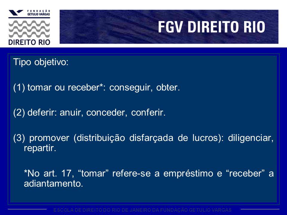ESCOLA DE DIREITO DO RIO DE JANEIRO DA FUNDAÇÃO GETULIO VARGAS Tipo objetivo: (1) tomar ou receber*: conseguir, obter. (2) deferir: anuir, conceder, c