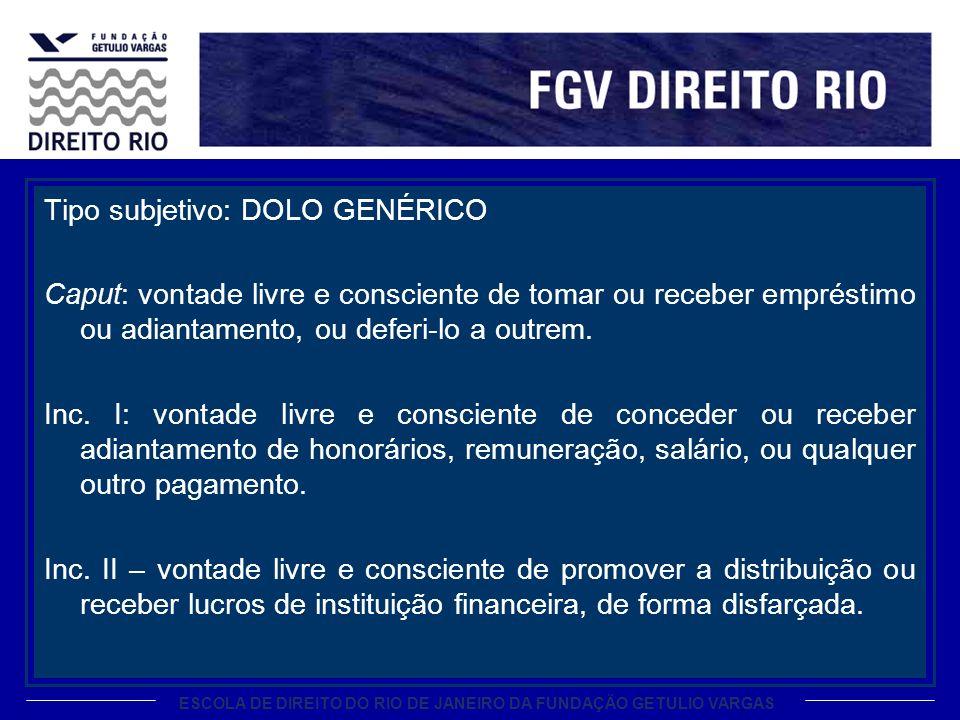 ESCOLA DE DIREITO DO RIO DE JANEIRO DA FUNDAÇÃO GETULIO VARGAS Tipo subjetivo: DOLO GENÉRICO Caput: vontade livre e consciente de tomar ou receber emp