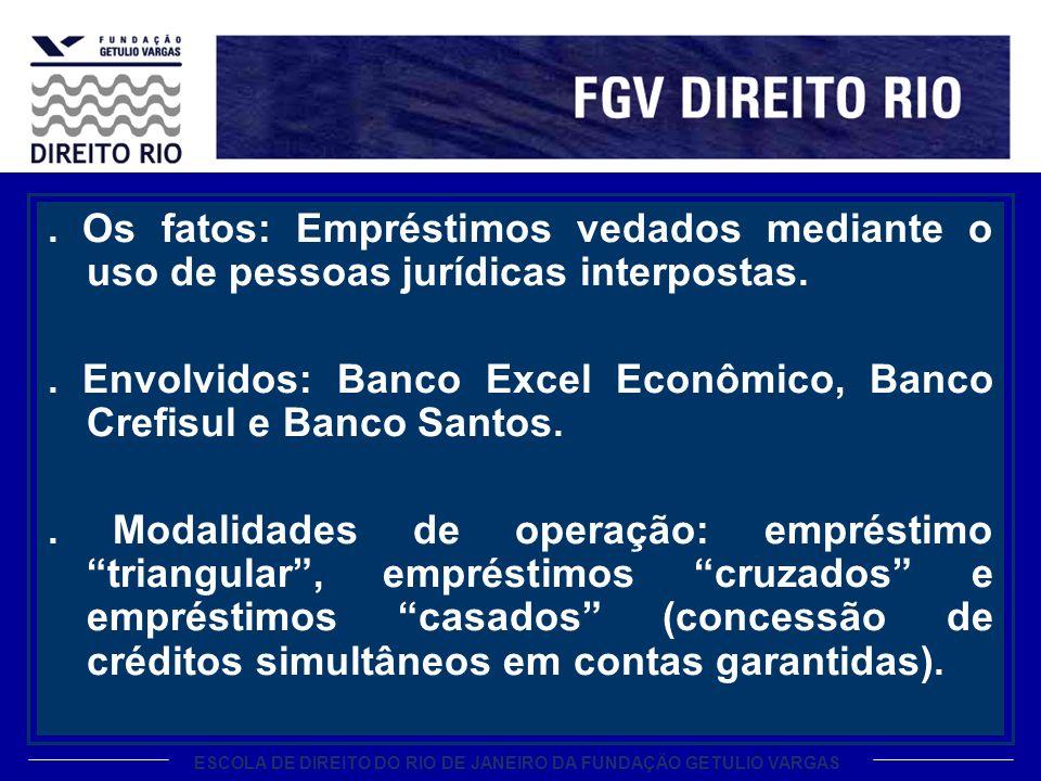 ESCOLA DE DIREITO DO RIO DE JANEIRO DA FUNDAÇÃO GETULIO VARGAS. Os fatos: Empréstimos vedados mediante o uso de pessoas jurídicas interpostas.. Envolv