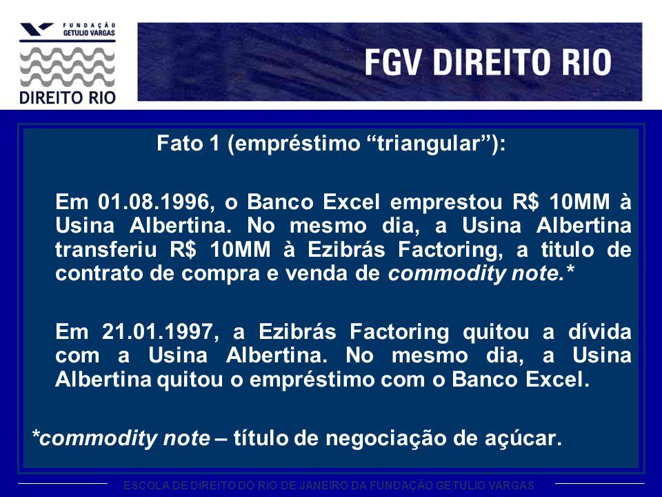 ESCOLA DE DIREITO DO RIO DE JANEIRO DA FUNDAÇÃO GETULIO VARGAS Fato 1 (empréstimo triangular): Em 01.08.1996, o Banco Excel emprestou R$ 10MM à Usina