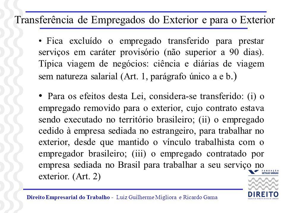 Direito Empresarial do Trabalho - Luiz Guilherme Migliora e Ricardo Gama Transferência de Empregados do Exterior e para o Exterior Ao empregado transferido são assegurados, independentemente da observância da legislação do local da execução dos serviços, a aplicação da legislação brasileira de proteção ao trabalho, naquilo que não for incompatível com o disposto nesta Lei, quando mais favorável do que a legislação territorial, no conjunto de normas e em relação a cada (Art.