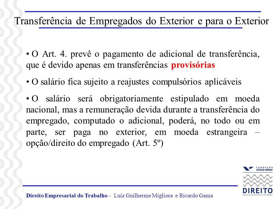 Transferência de Empregados do Exterior e para o Exterior Art.