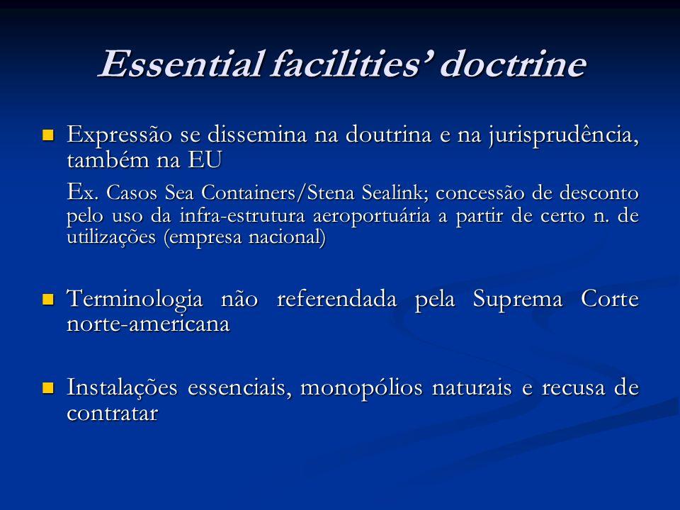 Essential facilities doctrine Expressão se dissemina na doutrina e na jurisprudência, também na EU Expressão se dissemina na doutrina e na jurisprudên