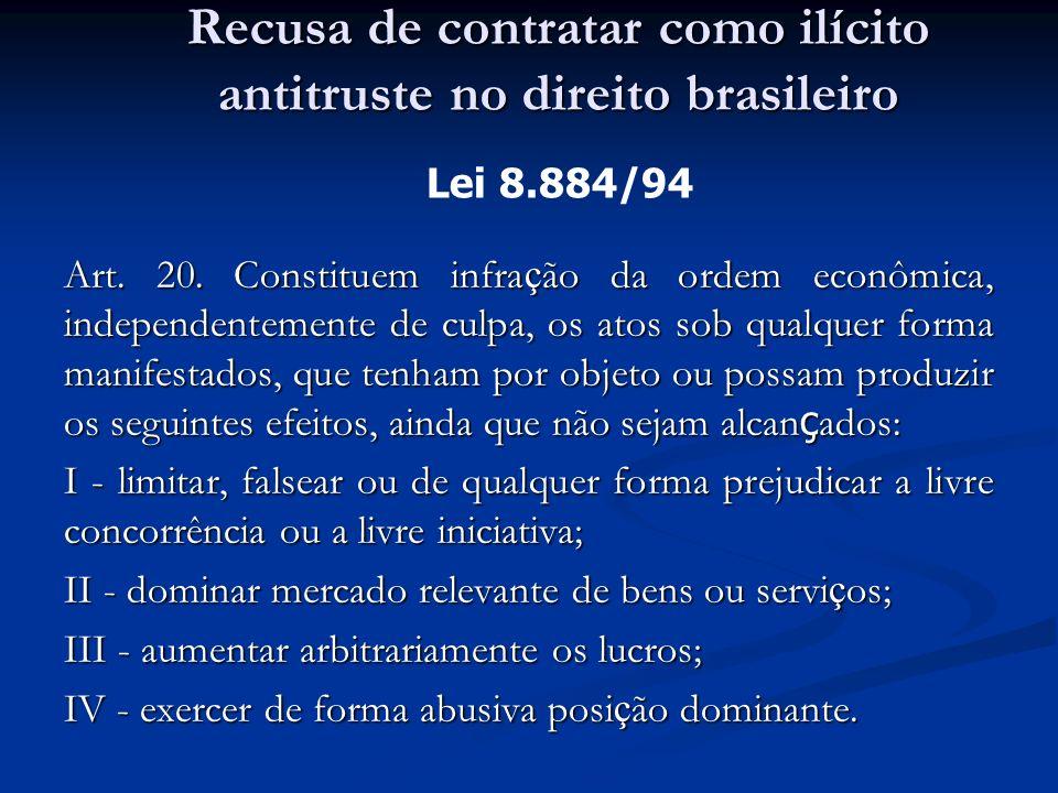 Art. 20. Constituem infra ç ão da ordem econômica, independentemente de culpa, os atos sob qualquer forma manifestados, que tenham por objeto ou possa