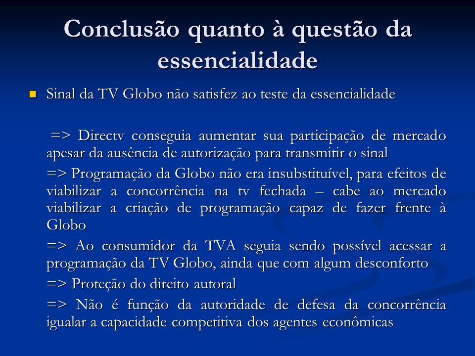 Conclusão quanto à questão da essencialidade Sinal da TV Globo não satisfez ao teste da essencialidade Sinal da TV Globo não satisfez ao teste da esse
