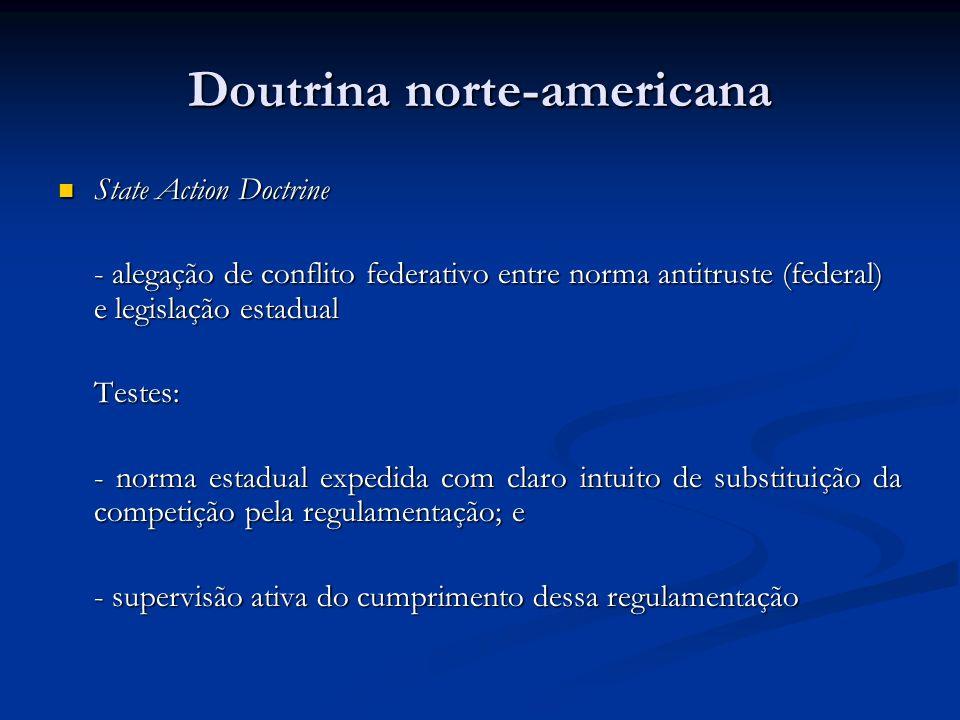 Doutrina norte-americana State Action Doctrine State Action Doctrine - alegação de conflito federativo entre norma antitruste (federal) e legislação e