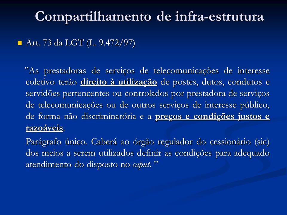 Art. 73 da LGT (L. 9.472/97) Art. 73 da LGT (L. 9.472/97) As prestadoras de serviços de telecomunicações de interesse coletivo terão direito à utiliza
