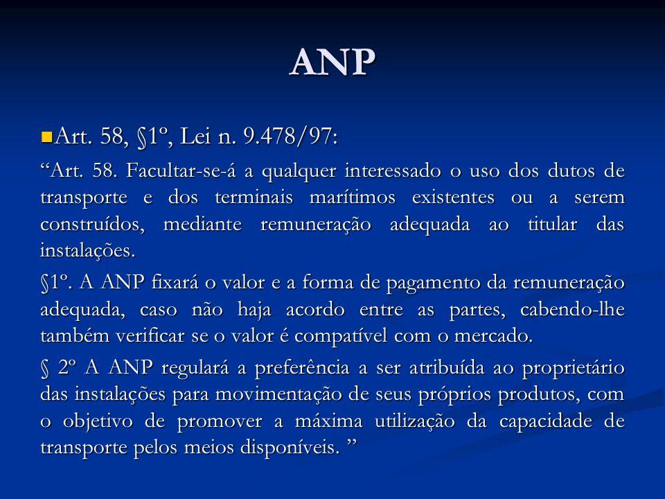 ANP Art. 58, §1º, Lei n. 9.478/97: Art. 58, §1º, Lei n. 9.478/97: Art. 58. Facultar-se-á a qualquer interessado o uso dos dutos de transporte e dos te