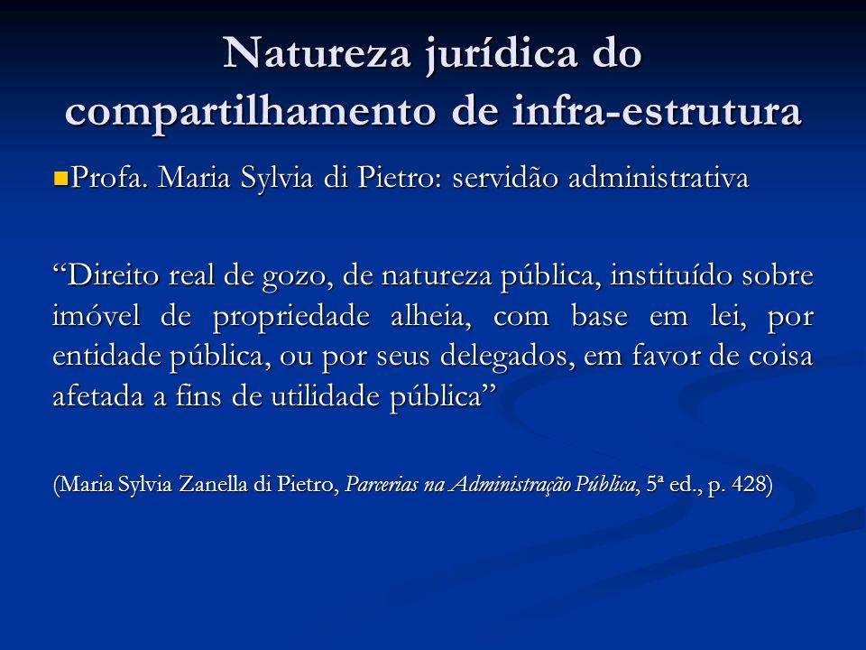 Natureza jurídica do compartilhamento de infra-estrutura Profa. Maria Sylvia di Pietro: servidão administrativa Profa. Maria Sylvia di Pietro: servidã