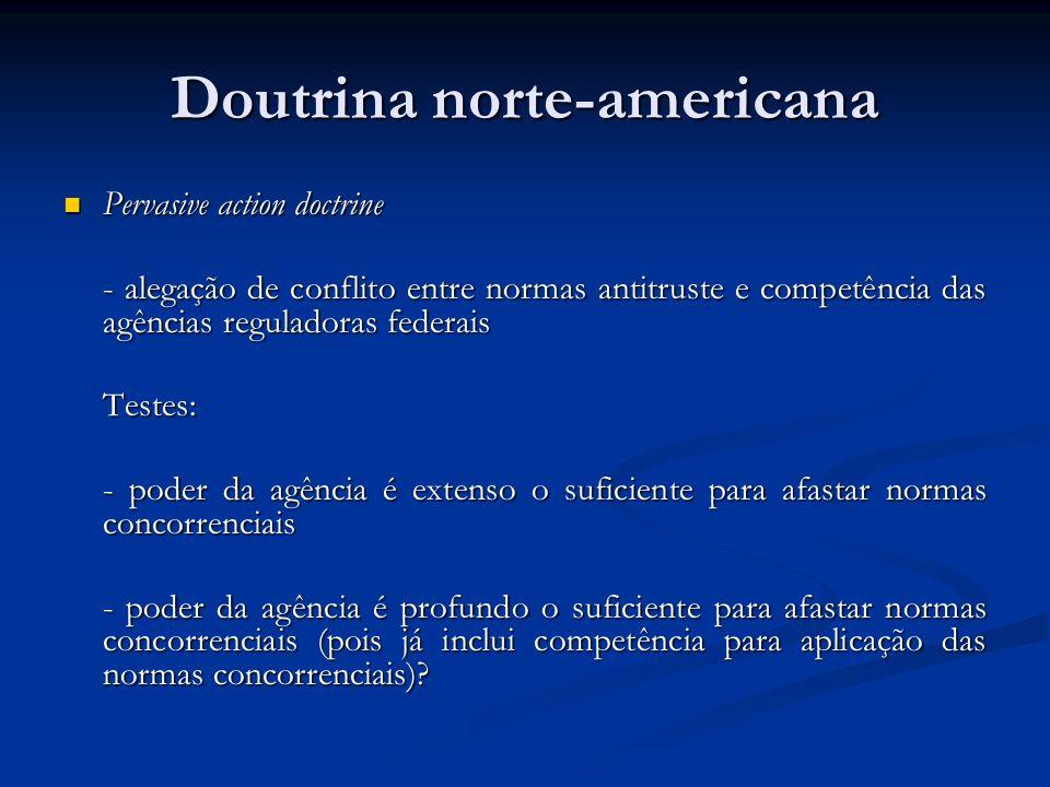 Doutrina norte-americana Pervasive action doctrine Pervasive action doctrine - alegação de conflito entre normas antitruste e competência das agências