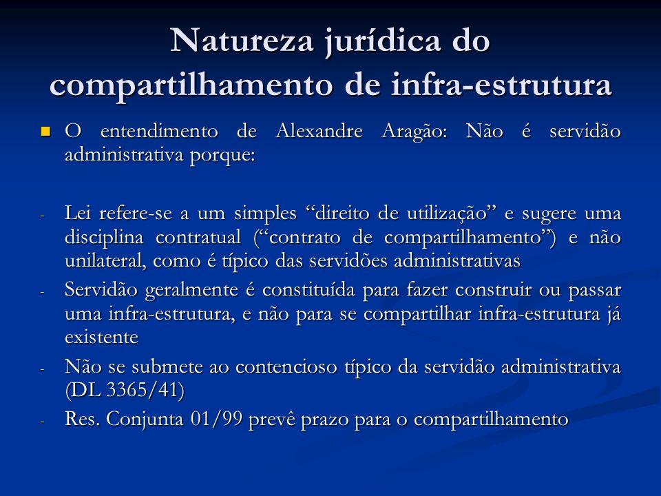 Natureza jurídica do compartilhamento de infra-estrutura O entendimento de Alexandre Aragão: Não é servidão administrativa porque: O entendimento de A