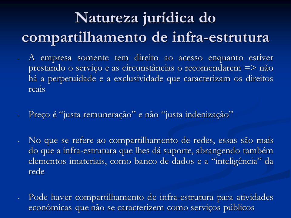 Natureza jurídica do compartilhamento de infra-estrutura - A empresa somente tem direito ao acesso enquanto estiver prestando o serviço e as circunstâ