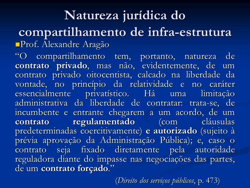 Natureza jurídica do compartilhamento de infra-estrutura Prof. Alexandre Aragão Prof. Alexandre Aragão O compartilhamento tem, portanto, natureza de c