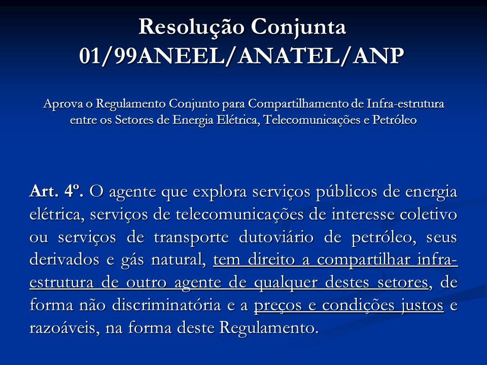 Aprova o Regulamento Conjunto para Compartilhamento de Infra-estrutura entre os Setores de Energia Elétrica, Telecomunicações e Petróleo Art. 4º. O ag