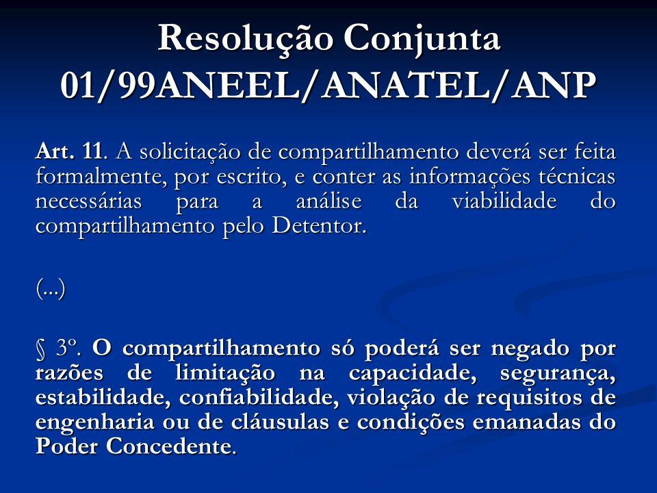 Resolução Conjunta 01/99ANEEL/ANATEL/ANP Art. 11. A solicitação de compartilhamento deverá ser feita formalmente, por escrito, e conter as informações