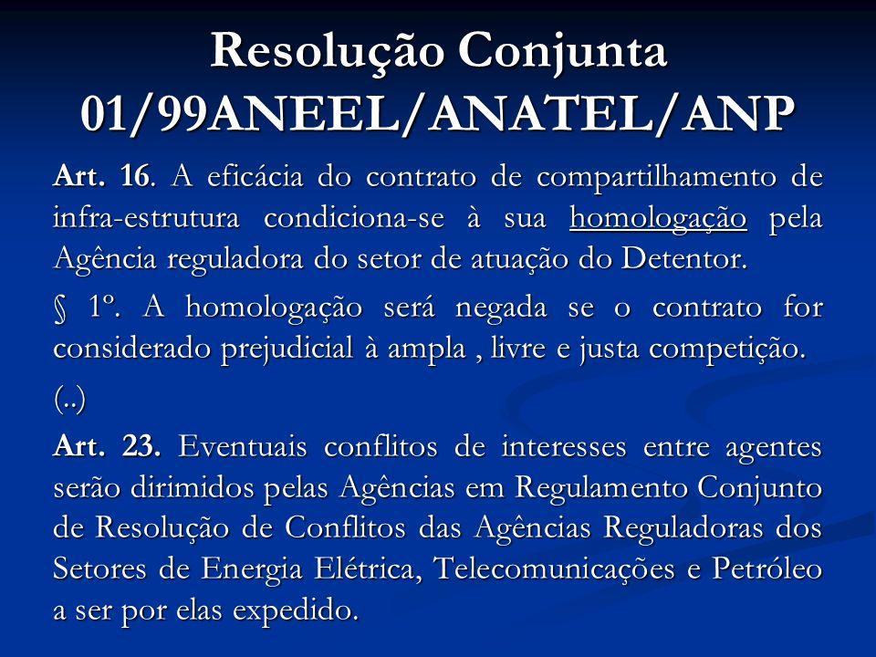Resolução Conjunta 01/99ANEEL/ANATEL/ANP Art. 16. A eficácia do contrato de compartilhamento de infra-estrutura condiciona-se à sua homologação pela A