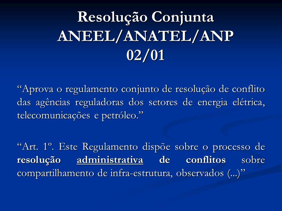 Aprova o regulamento conjunto de resolução de conflito das agências reguladoras dos setores de energia elétrica, telecomunicações e petróleo. Art. 1º.