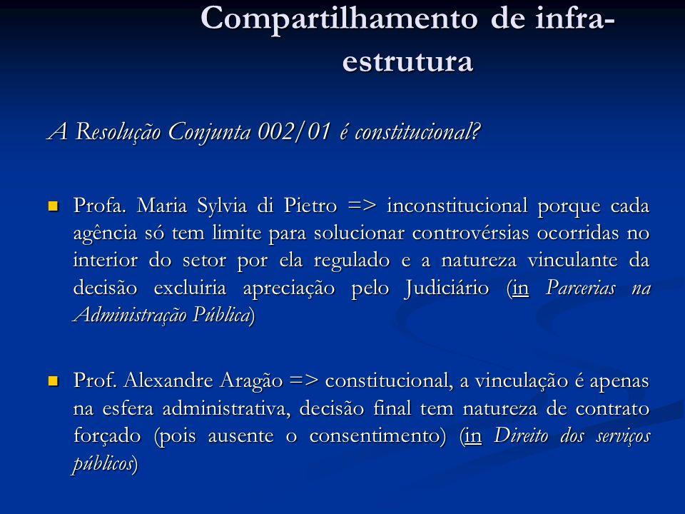 A Resolução Conjunta 002/01 é constitucional? Profa. Maria Sylvia di Pietro => inconstitucional porque cada agência só tem limite para solucionar cont