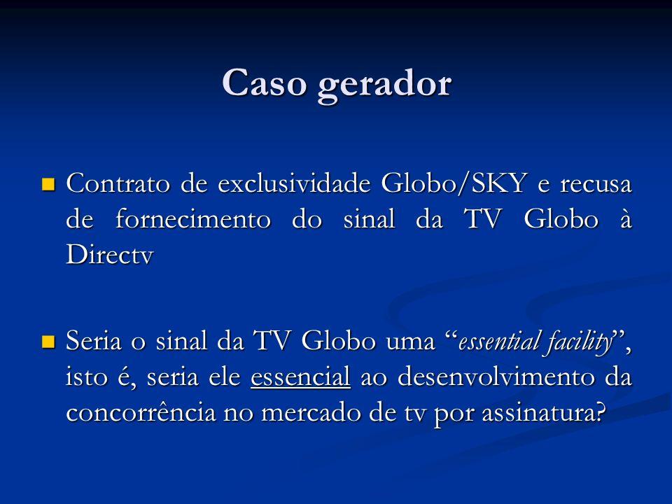 Caso gerador Contrato de exclusividade Globo/SKY e recusa de fornecimento do sinal da TV Globo à Directv Contrato de exclusividade Globo/SKY e recusa