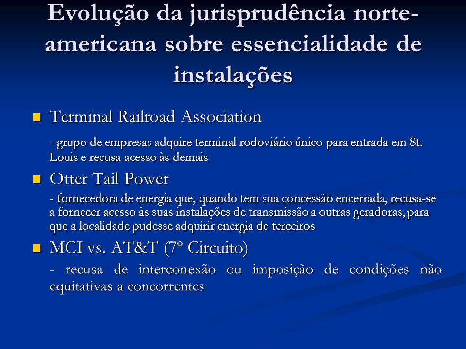 Evolução da jurisprudência norte- americana sobre essencialidade de instalações Terminal Railroad Association Terminal Railroad Association - grupo de